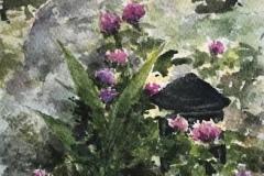 """Elin Larson, """"Clover Garden"""", watercolor, 6.5x4.5, $250"""