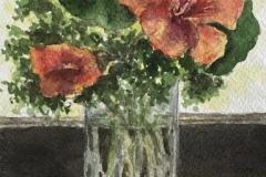 """Elin Larson, """"Nasturtiums"""", watercolor, 6.5x4.5, $250"""