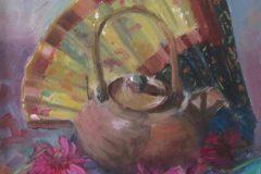 "Suzanne Lewis, ""Japonica"", oil, 10x10', $275"