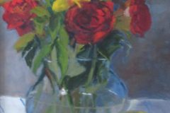 "Suzanne Lewis, ""Vase of Roses"", oil, 14x11', $325"