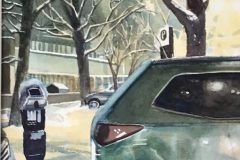 "Joan McPherson, ""Snowy Evening, New Haven"", watercolor, 20x17, $450"