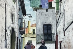"Michael Mendel, ""Searching for Liguori"", watercolor, 17x21, $600"