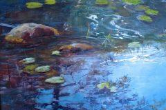 """Judith Meyers, """"Song of the Bullfrog"""", oil on aluminum, 12x16, $500"""