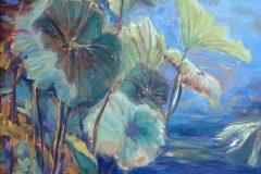"""Judith Meyers, """"Water Lotus"""", oil on aluminum, 12x16, $500"""