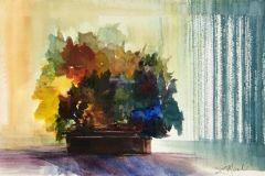 "Lisa Miceli, ""Through the Curtains"", watercolor, 8x12, $400"