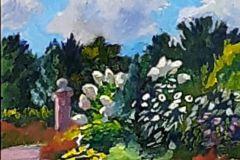 "Daniel Nichols, ""Irish Garden, Wickham Park'"", oil, 15x19, $300"