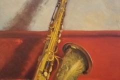 """Jeanne OBrien, """"Jazzy Sax"""", oil, 14x18, $625"""