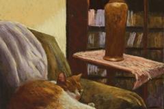"Jane Penfield, ""Cat Nap"", pastel, 16x12, $750"