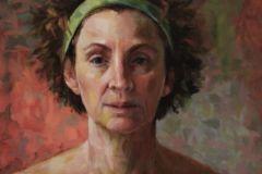 """Patrice Petricone, """"Covid Portrait"""", oil, 12x12, $1,000"""