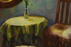 """Patrice Petricone, """"Interior with Iris"""", oil, 12x18, $1,000"""