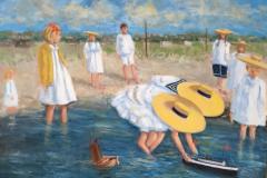 "Carol Ridgway, ""Hay Harbor"", oil, 22x28, $500"