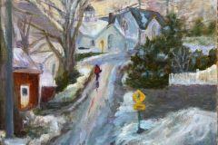 """Barbara Rossitto, """"The Long Hill Home"""", oil, 12x12, $450"""