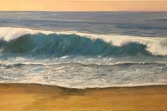 "Nick Salerno, ""Long Swells"", acrylic, 12x24, $600"