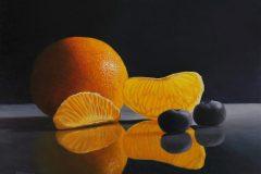 "J Elaine Senack, ""My Darling Clementine"", acrylic/aluminum, 12x16, $820"