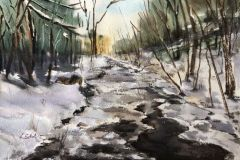 "Lucia Sokol, ""Bee Brook, Washington CT"", watercolor, 11x16, $450"
