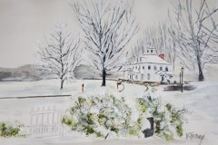"""Kathleen Tracy, """"First Snowfall"""", watercolor, 17x21, $350"""