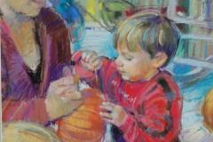 """Jessica Turgoose, """"My First Pumpkin"""", pastel, 24x30, $850"""