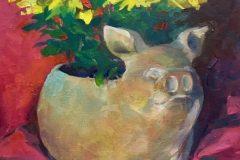 "Rosemary Webber, ""Mums for Miss Piggy Pot"", oil, 18x15, $410"