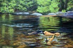 "Lorraine Yurkewicz, ""Summer Swim"", oil, 12x16, $675"