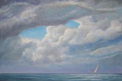 "William Seekamp, ""Breaking Through"", oil, 26.5x38, $1,200"