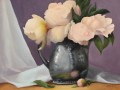 Randie Kahrl	, <i>	Peonies in Silver Pitcher	, </i>	oil	, 	$995