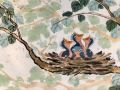 Gale Loch	, <i>	Nestlings	, </i>	watercolor	, 	$500	, 	15 x 23