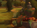 Katherine Mann, <i>The Scottish Garden, Wickham Park, </i>oil, $540