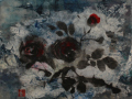 Catherine Radix Mansell, <i>Evening Red Roses, </i>ink, wax, paper, $175