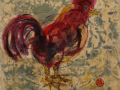 Catherine Redix Mansell, <i>Ruffled Feathers, </i>ink, wax, paper, $195