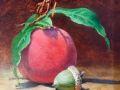 Bob Perkowski, <i>Summer Peach with Green Acorn, </i>oil, $500, 6 x 6