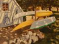 Neil Ruenzel, <i>Kayak Rack, </i>oil, $450