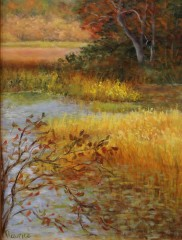 "Joyce Maurice, ""Golden Marsh"", oil, $345"