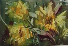 "Ralph Acosta, ""Ralph's Sunflowers"", watercolor, $850"