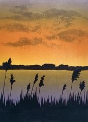 "Kathleen DeMeo, ""East of the River"", monoprint, $500"