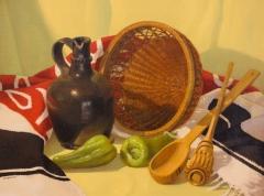 "Alexander Farquharson, ""Black Jug"", oil, $1,200"