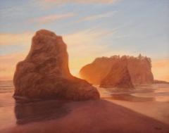 """Irene Jeruss, """"Sea Stacks, Setting Sun"""", oil, $1,600"""