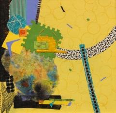 "Sandra Karakoosh, ""Remnants II Yellow"", mixed media, $375"