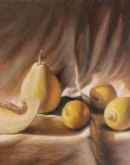 """Mike Laiuppa, """"Two Yellow Plums"""", oil, $550"""