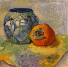 """Suzanne Lewis, """"Persimmon"""", oil, $175"""