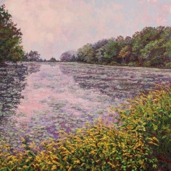 "Jill Beecher Matthew, ""Goldenrod on Joshua Pond"", oil, $1,250"