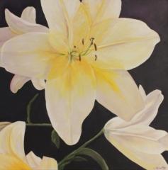 "Linda McCarthy, ""Pure Lily"", oil, $575"