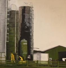 "Alicia Melluzzo, ""Yellow Tractor at Tiffany Farm"", acrylic, $850"