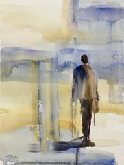 "Lisa Miceli, ""What He Carried"", watercolor, $950"
