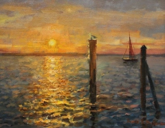"Tom Moukawasher, ""Sea Sunset"", oil, $950"