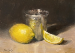 """Liane Philpotts, """"Lemons and SIlver Cup""""_oil SOLD"""