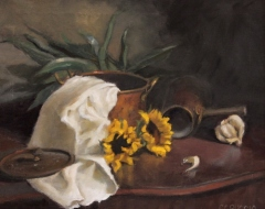 "Catherine Puccio, ""Sunflowers and Copper"", oil, $1,100"