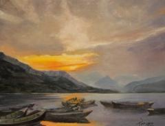 """Sharon Rege, """"Still Waters"""", oil, $600"""
