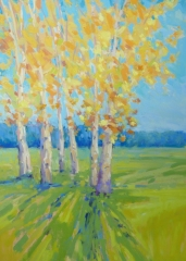 """Diana Rogers, """"Birch Trees Early Autumn"""", pastel, $450"""