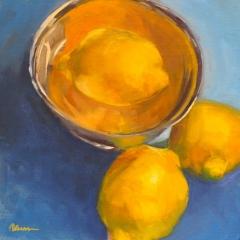 """Patricia Shoemaker, """"Lemons on Blue"""", oil, $600"""