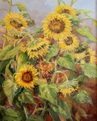 "Linda Sinacola, ""Sunflower Harvest"", oil, $1,200"